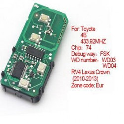 Toyota 2010-2013 RV4 Lexus Crown WD03 WD04 Number 271451-5290-Eur Smart PCB board 4 buttons 433.92MHZ With 74 Chip